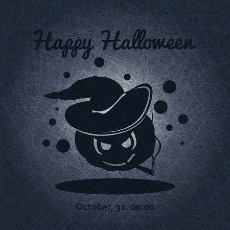 postcard background: Happy Halloween. Evil pumpkin with witch hat.Halloween pumpkin. The holiday, pumpkins. Vector illustration for celebration. Poster, postcard, banner, background for Halloween Party Night. Illustration