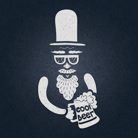 big figure: A bearded man with a mustache, glasses and a stylish hat cylinder. A mug of beer in his hand. The stylized face with a beard. Big curly beard beer. Figure mugs of beer. Hand drawing.