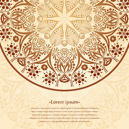 lotus flowers: Flower circular background. A stylized drawing. Mandala. Stylized lace ornament. Indian floral ornament. Delicate floral background for greeting cards, labels. Place in the text.