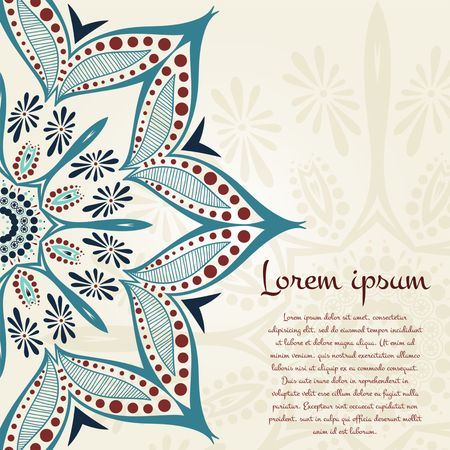 꽃 원형 배경. 양식에 일치시키는 드로잉. 만다라. 빈티지 장식 요소. 이슬람, 아랍어, 인도, 오스만 모티브. 양식에 일치시키는 꽃. 텍스트에 놓습니다.