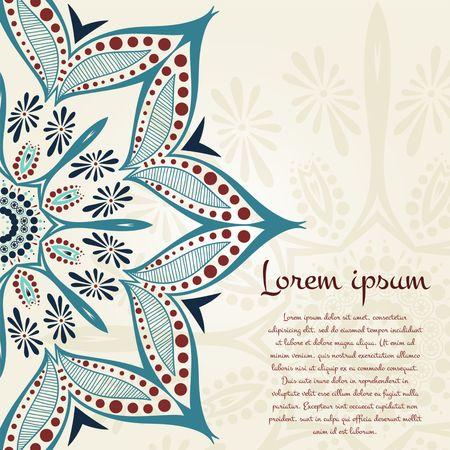 Flor de fondo circular. Un dibujo estilizado. Mandala. Elementos decorativos vintage. Islam, árabe, india, motivos otomanos. Flores estilizadas. Coloque en el texto. Foto de archivo - 46610868