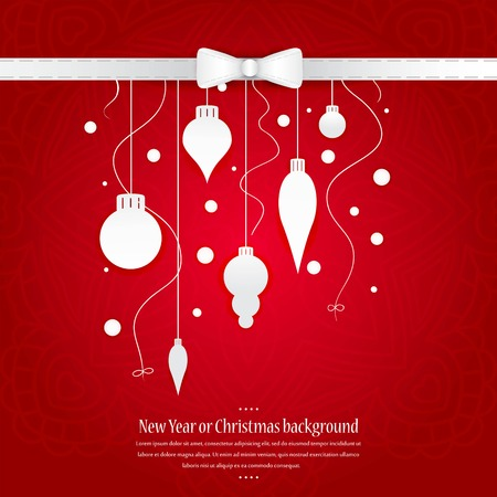 Celebratory bright background for Christmas and New Year. Greeting card. White Christmas decorations, toys on a red gradient background. Space for text. Christmas decorations, tinsel, snow falling.