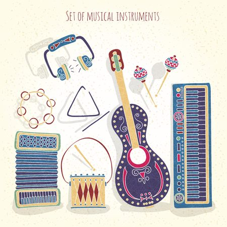 textural: Stylish vintage set of musical instruments on a textural background. Drums, treugodbnik, guitar, violin, headphones, accordion, maracas, synthesizer. Stylized musical instruments. Illustration