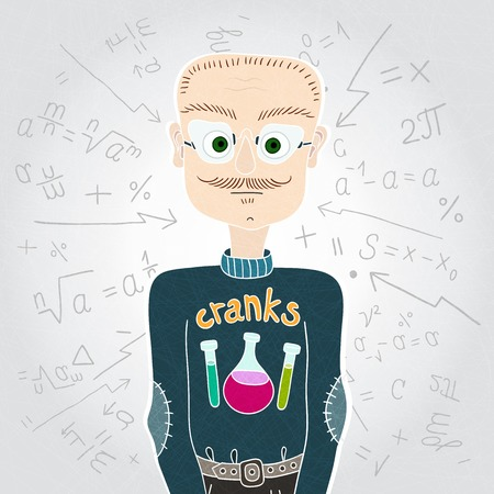 academia: Vector illustration. Vector characters. Scientist man in sweater and glasses. Teacher. Mathematical formulas. Drawing with chemical tubes. A man with a mustache and a small beard. Illustration