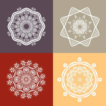 Four beautiful circular ornament on a retro background. Mandala. Vintage decorative elements. Islam, Arabic, Indian, ottoman motifs. Set of beautiful ethnic, oriental ornaments. Stylized flowers.