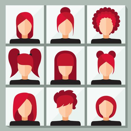 voluminous: Set of stylish vector icons for infographics. Womans face. Set of stylish womens hairstyles. Flat icons. Short haircut, bangs, hair tails from elastic bands, office styling, voluminous hair. Illustration