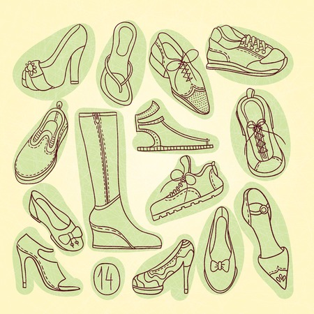 men's shoes: Big set of different shoes. Vector illustration. Hand drawing. 14 pairs of shoes. Shoes with high heels. Womens shoes, mens shoes, boots for sports, jogging sneakers. Vintage shoes, boots.