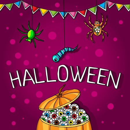 spider webs: Postcard, poster for Halloween. Holiday magic, spiders, worms, spider webs. The flags for decoration. Decorative elements. Big pumpkin with human eyes.
