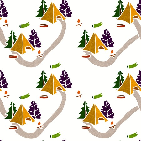 hiking trail: Seamless background. Nature seamless pattern. Seamless color pattern with a tent, a campfire and trees. Hiking Trail. Tourist camp. Seamless background. The pattern of tourism and travel. Illustration