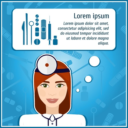 medical instruments: Vector illustrations of a woman doctor. Doctor. The girls face. Icon. Flat icon. Minimalism. The stylized girl. Occupation. Job. Uniforms, cap. Medical instruments, scalpel, syringe.