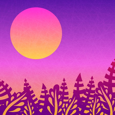 departing: Beautiful pink sunset. Nice gradient background. Big sun. Tropical leaves. Background with leaves, sunsets and the departing sun. Tropical, nature, rest. Background for posters, postcards and prints.