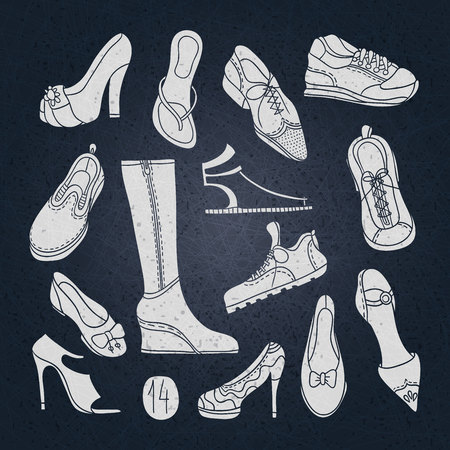 Big set of different shoes. Vector illustration. Hand drawing. 14 pairs of shoes. Shoes with high heels. Women's shoes, men's shoes, boots for sports, jogging sneakers. Vintage shoes, boots. Vektorové ilustrace