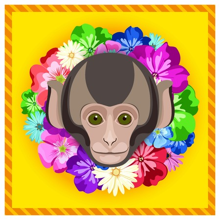 rim: Vector portrait of a monkey among the flowers. Beautiful flower frame, rim. Symmetrical portraits of animals. Vector Illustration, greeting card, poster. Icon. Animal face. Image of a monkeys face.