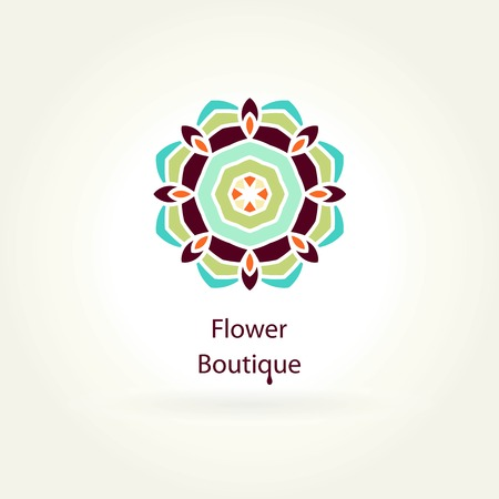 Flower Boutique. for flower shop. for organic products. Company, mark, emblem, element. Simple geometric. Mandala. Icons, business, invitations. Beautiful circular. Illustration