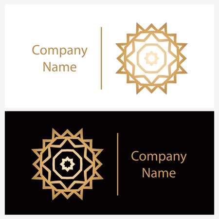Luxury in the shape of a flower for antique boutique. Gold, flower. Simple geometric sign. Icons, business, invitations. Volumetric golden big bud. Vintage. Islam, Arabic, Indian.