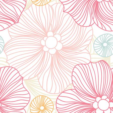 Pink Lace. Seamless pattern. Pink pattern. Pink flowers. Beautiful retro seamless pattern, vintage texture. Stylized flowers. Flower background. Pastel pattern. Flower shop. Bright buds. Big Bud. Illustration