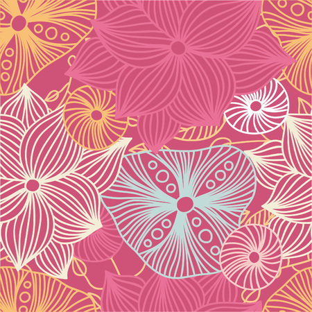 Seamless floral pattern with decorative roses. Retro print. Vintage pattern. Flower pattern. Big Bud. A large flower, mall petals. Pattern in blue, pink colors. Bright floral pattern, ornament, print.