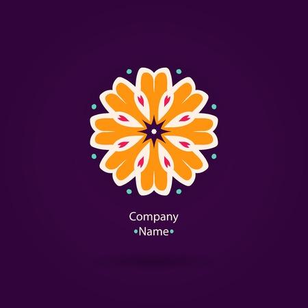 Beautiful Flower logo. Logo for boutique, interior. Company logo, mark, emblem, element. Simple geometric Mandala logo. Icons, business, invitations. Vintage. Striped logotype. Orange logotype.