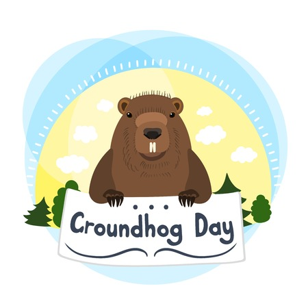 superstitious: Cute groundhog. Vector illustration with grounhog. Cute marmot. Greeting Card Groundhog Day. Marmot holding in the paws of the plate. Sun, clouds, trees, nature, forest. Hand drawing. Illustration
