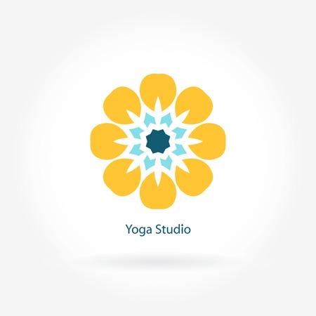 simple logo: Logo for the yoga studio, fitness. Flower symbol. Logo design template. Yoga vector logotype. Company logo, mark, emblem, element. Simple geometric logo. Mandala logo. Flower logo. Bright buds, leaves Illustration