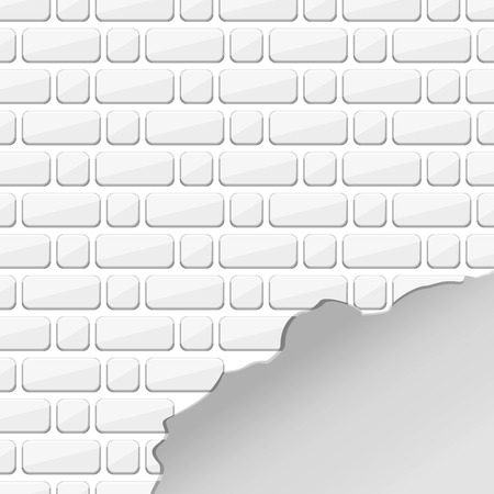 White texture. White destroyed brick wall. Uneven edge. Chipped bricks. A crack in the wall. Kick into the wall. Vector brick. Texture of bricks. Brick background, pattern.