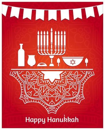 kwanzaa: Hanukkah. Festive table. Candlestick, cake, candles, wick, jar, a large dish, dreidel. Jewish holiday. Happy Hanukkah greeting card design. Celebratory bright background for Hanukkah. Tape with flags.