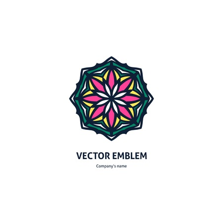 Vintage beautiful circular logo for boutique, flower shop, business, interior. Company mark, emblem, element. Simple geometric mandala logotype. Kaleidoscope big bud. Surround abstract blossom. Illustration