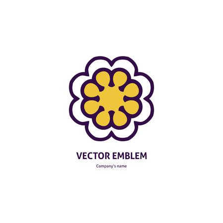 Bright and juicy beautiful circular logo for boutique, flower shop, business. Company mark, emblem, element. Simple geometric mandala logotype. Kaleidoscope big bud. Surround abstract blossom.