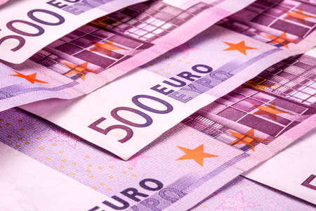 Several 500 euro banknotes are adjacent. symbolic photo for wealth photo
