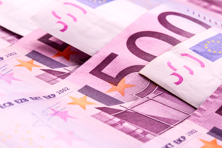 adjacent: Several 500 euro banknotes are adjacent. symbolic photo for wealth Stock Photo