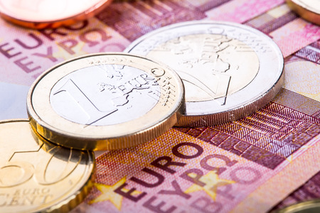 cash money: Euro currency. Coins and banknotes. Cash money background. Money concept Stock Photo