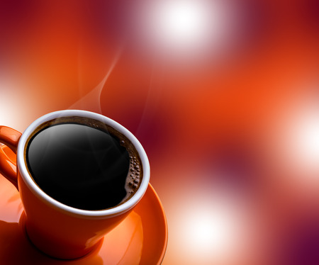 coffee foam: Cup of black coffee on bokeh background. Banner of a cup of coffee and a blurred background