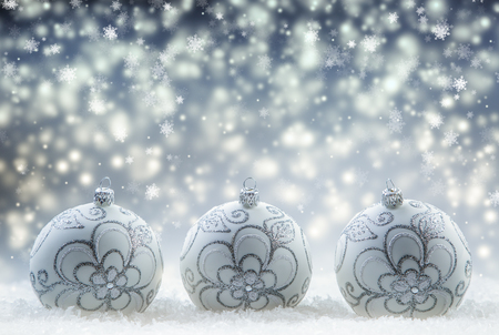 the snowflake: Christmas balls. Luxury Christmas ball with ornaments in Christmas Snowy Landscape. Christmas time. Stock Photo