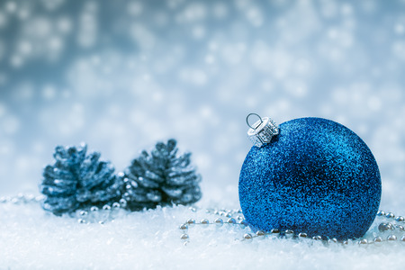 Christmas balls. Luxury Christmas ball with ornaments in Christmas Snowy Landscape. Christmas time. Banco de Imagens