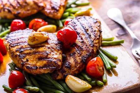 Poitrine de poulet grillée dans différentes variations Banque d'images - 46814292