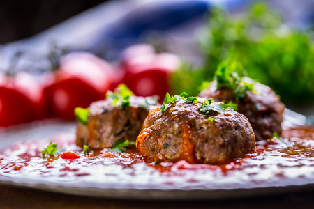 meat sauce: Meat balls. Italian and Mediterranean cuisine. Meat balls with spaghetti and tomato sauce. traditional kitchen.
