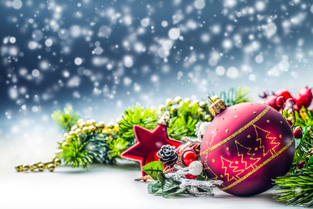 Christmas Time. Christmas card with ball fir and decor on glitter background.Xmas Stok Fotoğraf