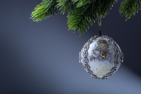 ball: Cristmas. Christmas ball. Luxury christmas ball on christmas tree. Home made Christmas ball hanging on pine twig.