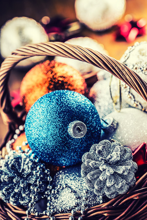 jingle bells: Christmas. Christmas decoration. Christmas balls, stars, jingle bells xmas ornaments. Decoration bauble seasonal winter holidays. Stock Photo