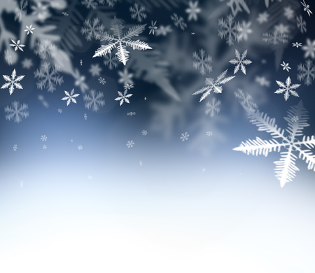 Christmas Time. Christmas Abstract background. Falling snowflakes on blue abstract sky. Free space for your Christmas and New Year wishes - felicitation. Stock Photo