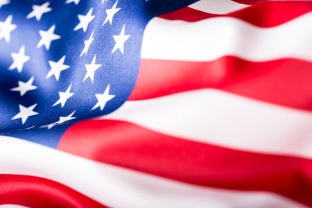 Drapeau des Etats Unis. Drapeau américain. Américaine vent drapeau de soufflage. Fermer. Studio shot. Banque d'images - 50529927