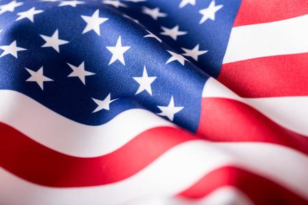 Drapeau des Etats Unis. Drapeau américain. Américaine vent drapeau de soufflage. Fermer. Studio shot. Banque d'images - 50529926