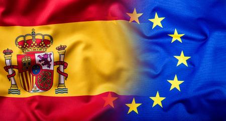 Waving flag of Spain and European Union.Eu Flag Spain Flag