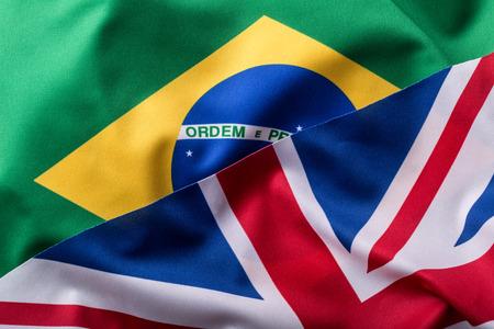 uk: Brasil and UK. Brasil flag an UK Flag.  British Union Jack flag.