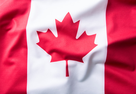 canadian flag: Close up shot of wavy Canadian flag. Stock Photo