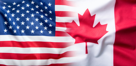 canadian state flag: USA and Canada. USA flag and Canada flag Stock Photo