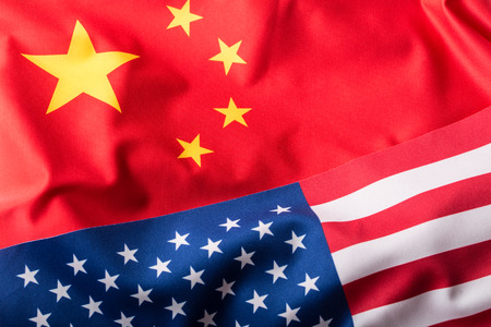chinese flag: USA and China. Usa flag and china flag.
