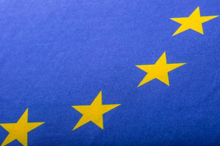 broken unity: EU Flag. Euro Flag. Flag of European Union waving in the wind. Detailed star flag Euro. Stock Photo