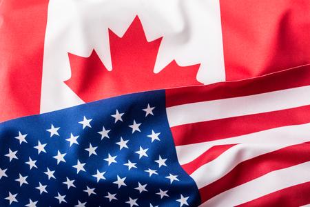 米国およびカナダ。アメリカ国旗とカナダ国旗 写真素材