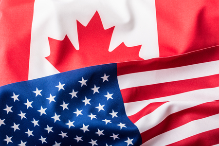 usa patriotic: USA and Canada. USA flag and Canada flag Stock Photo